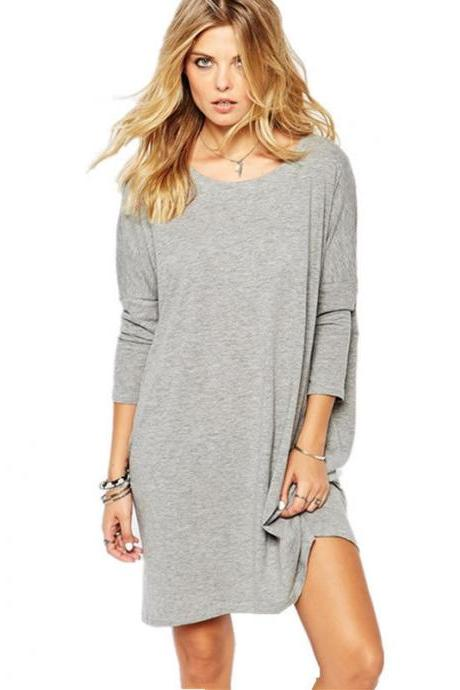 Women Sexy Long Tops Loose Cotton Hoodie Long Dress